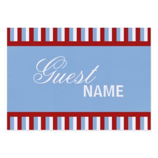 Tarjeta azul del lugar de la cena de las rayas del tarjetas de visita grandes