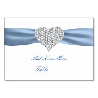Tarjeta azul del lugar de la tabla del boda del