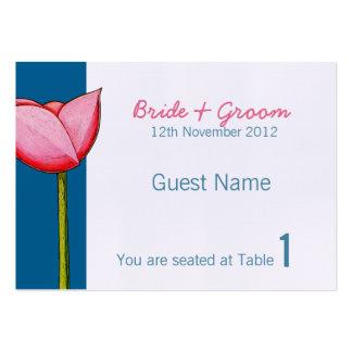 Tarjeta azul del lugar de las flores simples tarjetas de visita grandes