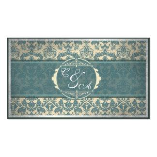 Tarjeta azul del lugar del boda del damasco del tarjetas de visita