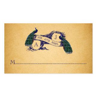 Tarjeta azul del lugar del boda del vintage de los tarjetas personales