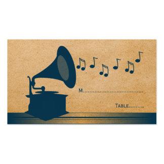 Tarjeta azul del lugar del gramófono del vintage tarjetas de visita