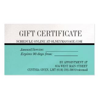 tarjeta azul del masaje y de regalo del balneario tarjetas de visita