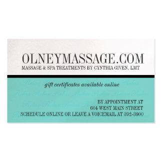 tarjeta azul del masaje y del contacto del tarjetas de visita