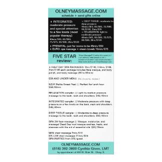 tarjeta azul del masaje y del folleto del balneari tarjeta publicitaria