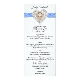 """Tarjeta azul del menú del boda del cordón del invitación 4"""" x 9.25"""""""