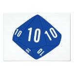 Tarjeta azul del número de la tabla D10 Invitación