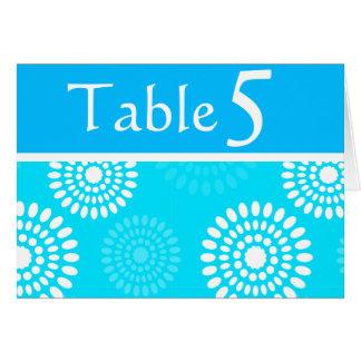 Tarjeta azul del número de la tabla de las flores