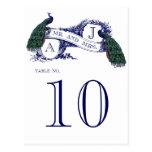 Tarjeta azul del número de la tabla del boda del p postal