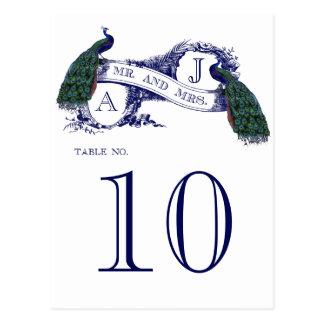Tarjeta azul del número de la tabla del boda del p tarjetas postales