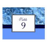 Tarjeta azul del número de la tabla del Hydrangea Postales