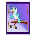 Tarjeta azul del pájaro de la primavera