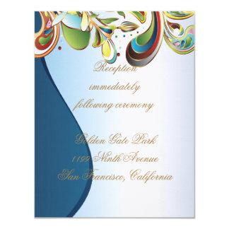 """Tarjeta azul del parte movible de la recepción invitación 4.25"""" x 5.5"""""""
