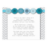 Tarjeta azul del parte movible del botón postal