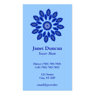 Tarjeta azul del perfil de la mandala tarjetas de visita