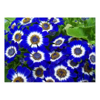 Tarjeta azul del perfil de las flores tarjetas de visita grandes