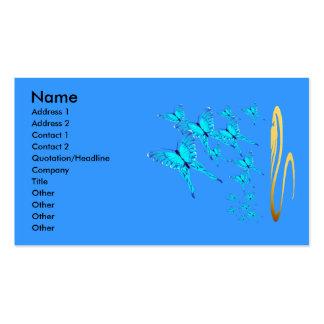 Tarjeta azul del perfil de las mariposas plantillas de tarjetas personales