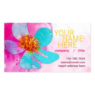 Tarjeta azul del perfil de los pétalos plantillas de tarjeta de negocio