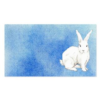 Tarjeta azul del perfil del conejo tarjetas de negocios