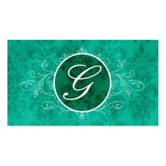 Tarjeta azul del perfil del monograma del Flourish Tarjetas De Visita