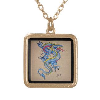tarjeta azul del pergamino del dragón cuadrado collares personalizados