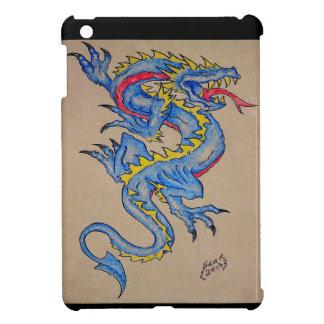 tarjeta azul del pergamino del dragón (cuadrado)