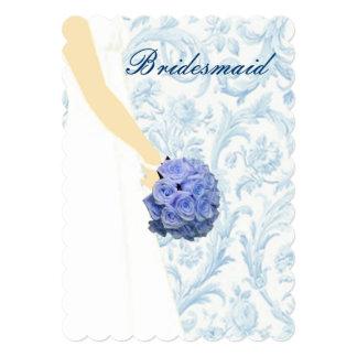 Tarjeta azul elegante de la dama de honor del anuncio