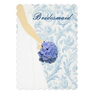 Tarjeta azul elegante de la dama de honor del vest anuncio