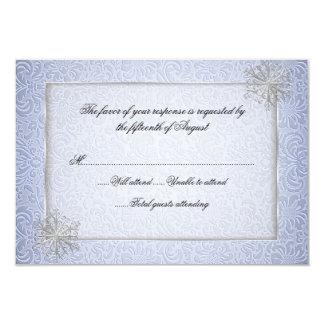 Tarjeta azul elegante de la respuesta del boda del invitación 8,9 x 12,7 cm