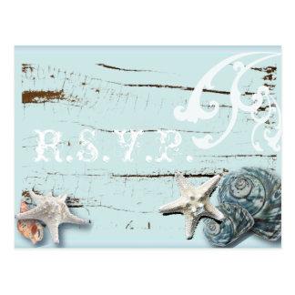 Tarjeta azul elegante de RSVP del boda de playa de Postal