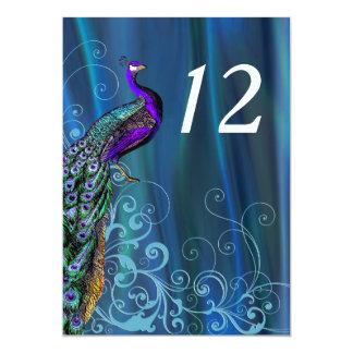 """Tarjeta azul elegante del número de la tabla del invitación 5"""" x 7"""""""