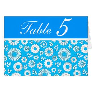 Tarjeta azul floral del número de la tabla del ver