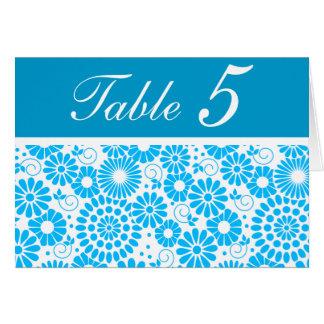 Tarjeta azul floral del número de la tabla del vin