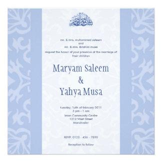 Tarjeta azul islámica de la invitación del boda de