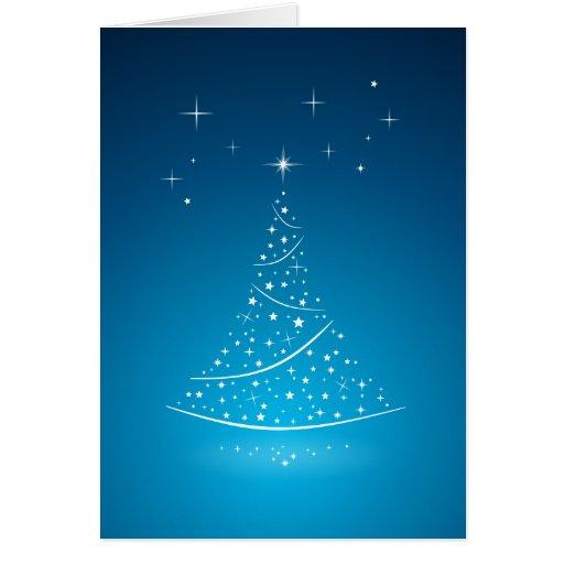 Tarjeta (azul) mágica del árbol de navidad