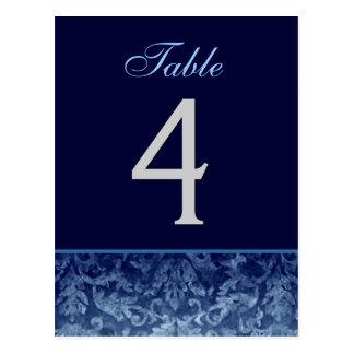 Tarjeta azul marino del número de la tabla del postal