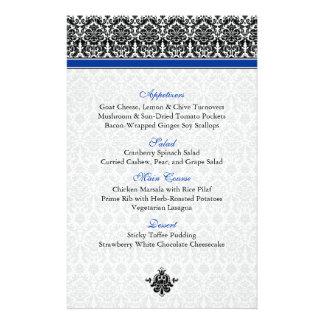 Tarjeta azul negra blanca del menú del damasco flyer personalizado