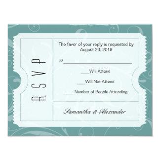 Tarjeta azul polvorienta de RSVP del boleto del Invitación 10,8 X 13,9 Cm