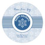 Tarjeta azul redonda del día de fiesta del copo de comunicados personalizados