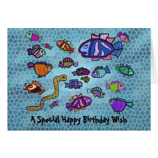 Tarjeta azul subacuática del feliz cumpleaños del