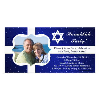 Tarjeta azul y blanca de la foto del fiesta de tarjeta personal con foto