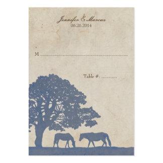 Tarjeta azul y de marfil del lugar de la granja de tarjetas de visita