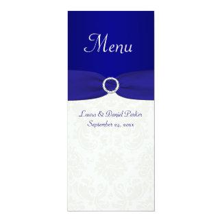 """Tarjeta azul y de marfil del menú del boda del invitación 4"""" x 9.25"""""""
