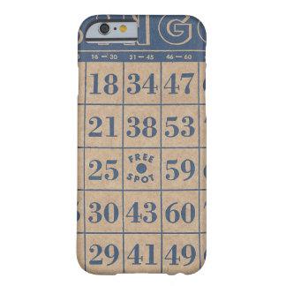 Tarjeta azul y del moreno antigua del bingo funda de iPhone 6 barely there