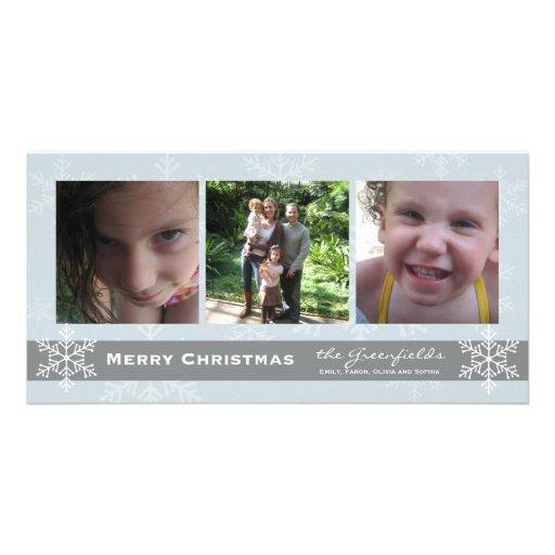 Tarjeta azul y gris de las Felices Navidad del cop Tarjetas Fotográficas Personalizadas