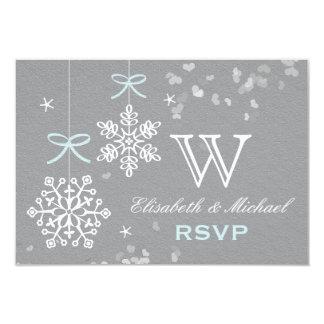 """Tarjeta azul y gris de RSVP del copo de nieve Invitación 3.5"""" X 5"""""""