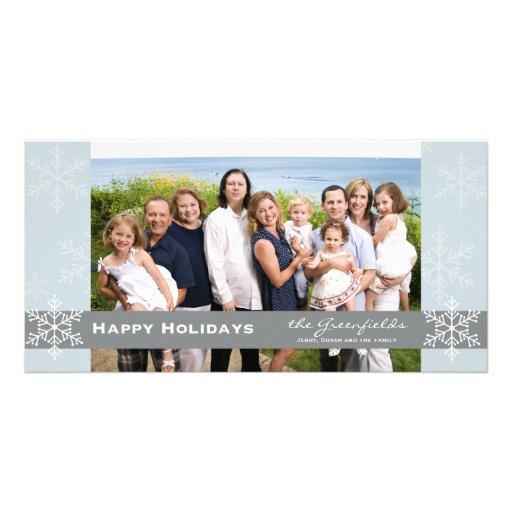 Tarjeta azul y gris del día de fiesta del copo de  plantilla para tarjeta de foto