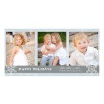 Tarjeta azul y gris del día de fiesta del copo de  tarjetas fotograficas