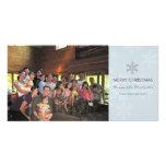 Tarjeta azul y gris del día de fiesta del copo de  tarjetas con fotos personalizadas