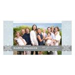 Tarjeta azul y gris del día de fiesta del copo de  tarjeta personal con foto